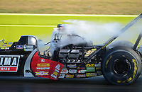 Sept. 22, 2012; Ennis, TX, USA: NHRA top fuel dragster driver David Grubnic breaks a fuel line during qualifying for the Fall Nationals at the Texas Motorplex. Mandatory Credit: Mark J. Rebilas-US PRESSWIRE
