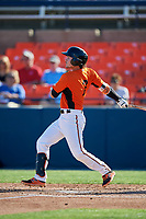 Frederick Keys second baseman Preston Palmeiro (7) hits a single during the first game of a doubleheader against the Lynchburg Hillcats on June 12, 2018 at Nymeo Field at Harry Grove Stadium in Frederick, Maryland.  Frederick defeated Lynchburg 2-1.  (Mike Janes/Four Seam Images)