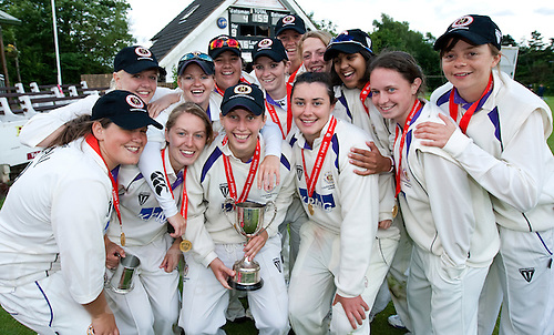 18 JUN 2009 - LEEK,GBR - Loughborough University celebrate winning the 2009 BUCS Women's Cricket Championship Final against Leeds Met Carnegie. (left to right) Vicky Ball, Katie Green, Kayleigh Alsop, Olivia Thorogood, Emily Marriott, Kathryn Doherty, Nicky Pym, Salliann Briggs, Jasmine Titmuss, Beth Brown, Sarah Sribala Sundaram, Polly Scutt and Rachel Dyer .(PHOTO (C) NIGEL FARROW)