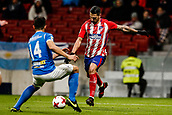 9th January 2018, Wanda Metropolitano, Madrid, Spain; Copa del Rey football, round of 16, second leg, Atletico Madrid versus Lleida; Jose Luis Valiente (Lleida) challenges the drive from Victor Machin VITOLO (Atletico de Madrid)