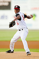 Kannapolis Intimidators starting pitcher Euclides Leyer (26) in action against the Greensboro Grasshoppers at CMC-Northeast Stadium on July 12, 2013 in Kannapolis, North Carolina.  The Grasshoppers defeated the Intimidators 2-1.   (Brian Westerholt/Four Seam Images)