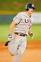 Stephen Yarrow #14 (San Francisco) of the USA Baseball Collegiate National Team hustles towards third base against the Gastonia Grizzlies at Sims Legion Park on June 30, 2011 in Gastonia, North Carolina.  Team USA defeated the Grizzlies 12-5.  Brian Westerholt / Four Seam Images