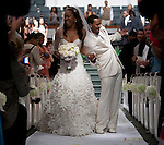 Sanya Richards and Aaron Ross leave the altar during their wedding. Olympic gold medalist, Sanya Richards, and New York Giants cornerback, Aaron Ross, wed at the Hyde Park Baptist in Austin, Texas on Friday, February 26, 2010...