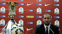 Calcio, Tim Cup: il difensore della Juventus Giorgio Chiellini durante la conferenza stampa alla vigilia della finale contro la Lazio, allo stadio Olimpico di Roma, 19 maggio 2015.<br /> Italy football Italian Cup: Juventus' defender Giorgio Chiellini attends a press conference on the eve of the final match against Lazio, at Rome's Olympic stadium, 19 May 2015.<br /> UPDATE IMAGES PRESS/Isabella Bonotto