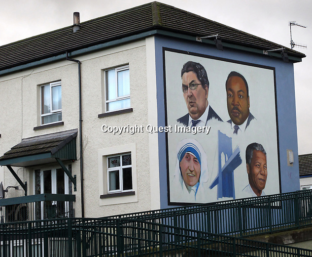 &quot;John Hume&quot; mural in the Bogside, a neighborhood outside the city walls of Derry, Northern Ireland. <br />