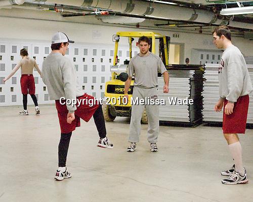Ryan Carroll (Harvard - 35), Ryan Grimshaw (Harvard - 6), David Valek (Harvard - 22) - The Boston University Terriers defeated the visiting Harvard University Crimson 5-2 on Saturday, January 15, 2011, at Agganis Arena in Boston, Massachusetts.