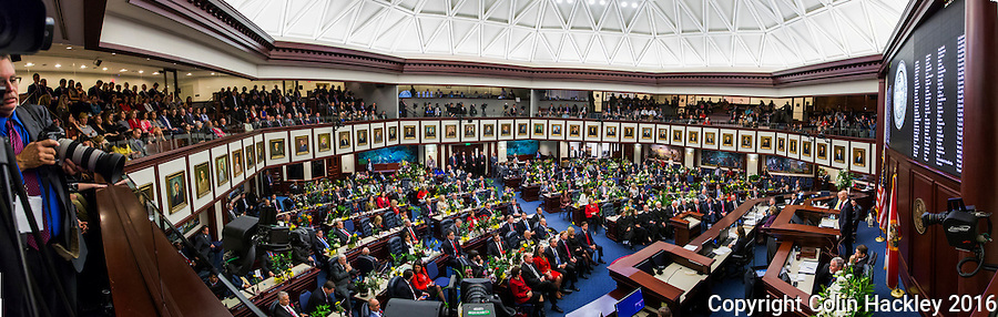 TALLAHASSEE, FLA. 1/12/16-Gov. Rick Scott delivers the state of the state address Tuesday at the Capitol in Tallahassee.<br />