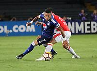 BOGOTÁ -COLOMBIA, 18-09-2018:Juan Roa(Der.) jugador de Independiente Santa Fe  de Colombia disputa el balón con Ayron Del Valle (Izq.) jugador  de  Millonarios de Colombia durante partido por los octavos de final ,llave A,  de La Copa Conmebol Sudamericana 2018,jugado en el estadio Nemesio Camacho El Campín de la ciudad de Bogotá./Luis Seijas (R) Player of Independiente Santa Fe of Colombia disputes the ball withAyron Del Valle (Left) player of Millonarios of Colombia during game for the knockout round, key A, of the Conmebol Sudamericana Cup  2018, played at the Nemesio Camacho stadium The Campín of the city of Bogotá. Photo: VizzorImage/ Felipe Caicedo / Staff