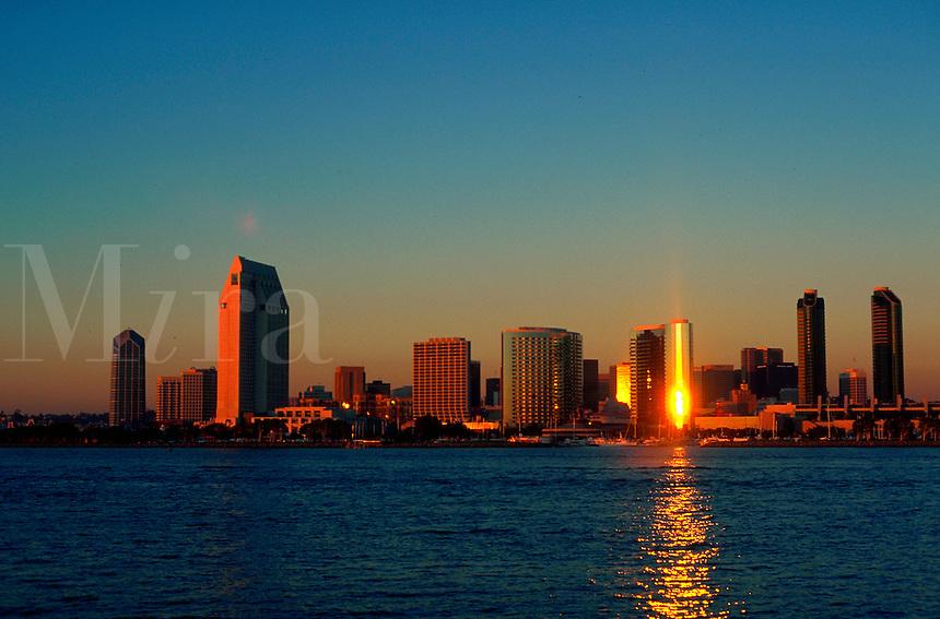 San Diego skyline at sunset.