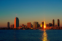 San Diego skyline at sunset.