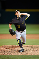 Bradenton Marauders relief pitcher Jordan Jess (37) delivers a pitch during the second game of a doubleheader against the Lakeland Flying Tigers on April 11, 2018 at Publix Field at Joker Marchant Stadium in Lakeland, Florida.  Bradenton defeated Lakeland 1-0.  (Mike Janes/Four Seam Images)