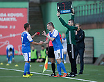 FK Trakai v St Johnstone…06.07.17… Europa League 1st Qualifying Round 2nd Leg, Vilnius, Lithuania.<br />Steven MacLean replaces Chris Millar<br />Picture by Graeme Hart.<br />Copyright Perthshire Picture Agency<br />Tel: 01738 623350  Mobile: 07990 594431