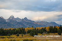 67545-09613 Fall color and Grand Teton Mountain Range from Blacktail Falls Overlook, Grand Teton National Park, WY