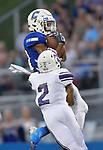 Columbia's Londyn Little (top) pulls in a pass as Mascoutah's Terrance Buckingham tries to break up the play. Columbia played Mascoutah on Saturday August 31, 2019 in a football game that was never started on Friday night due to bad storms.<br /> Tim Vizer/Special to STLhighschoolsports.com