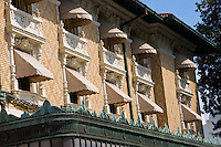 Ornate windows with awnings on a spa on Bath House Row, Hot Springs, Arkansas