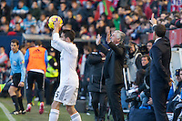 14.12.2013, Pamplona, Spain. La Liga football Osasuna  versus  Real Madrid.    Carlo Ancelotti, Real Madrid coach, during the game between Osasuna and Real Madrid  from the Estadio de El Sadar.