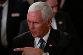 United States Vice President Mike Pence departs the one year celebration of the Pledge to America's Workers at the White House in Washington D.C., U.S. on July 25, 2019.<br /> <br /> Credit: Stefani Reynolds / CNP
