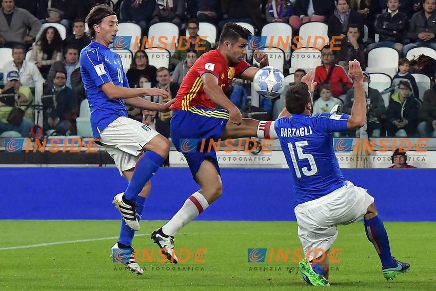 Diego Costa Spain, Andrea Barzagli, Riccardo Montolivo Italia <br /> Torino 06-10-2016 Juventus Stadium <br /> World Cup Qualifiers Italy - Spain / Italia - Spagna. Foto Andrea Staccioli / Insidefoto