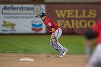 Billings Mustangs shortstop Carlos Rivero (23) prepares to make a throw to first base during a Pioneer League game against the Ogden Raptors at Lindquist Field on August 17, 2018 in Ogden, Utah. The Billings Mustangs defeated the Ogden Raptors by a score of 6-3. (Zachary Lucy/Four Seam Images)