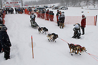 Merissa Osmar of Ninilchik leaves the start line of the 2009 Junior Iditarod on Knik Lake on Saturday Februrary 28, 2009.