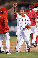 Orlando Cabrera of the Los Angeles Angels during a 2007 MLB season game at Angel Stadium in Anaheim, California. (Larry Goren/Four Seam Images)