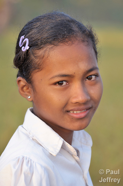 Srey Mao, 14, in Khnach, a village in the Kampot region of Cambodia.
