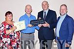 Tomas Hayes Kerry Group presents the Gradam Gnó Chiarraí award to Johnny Maguire for the Bricín restaurant in the Brehon Hotel on Thursday night l-r: Cabríní de Barra, Johnny Maguire, Tomas Hayes and Roibeard ó hEartain