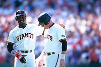 SAN FRANCISCO, CA - Barry Bonds of the San Francisco Giants congratulates teammate Matt Williams during a game at Candlestick Park in San Francisco, California in 1994. Photo by Brad Mangin