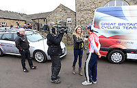 PICTURE BY VAUGHN RIDLEY/SWPIX.COM - Cycling - 2013 Premier Calander Road Race Series - Tour of the Reservoir, Stage 2 - Blanchland, Northumberland, England - 28/04/13 - Team car park in Blanchland. CycloVox interview Stage 1 second place finisher Simon Yates of 100% Me.