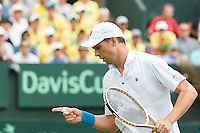 March 5, 2016: Mike Bryan of USA reacts before preparing for match point against Lleyton Hewitt and John Peers of Australia during the doubles match of the BNP Paribas Davis Cup World Group first round tie between Australia and USA at Kooyong tennis club in Melbourne, Australia. Photo Sydney Low