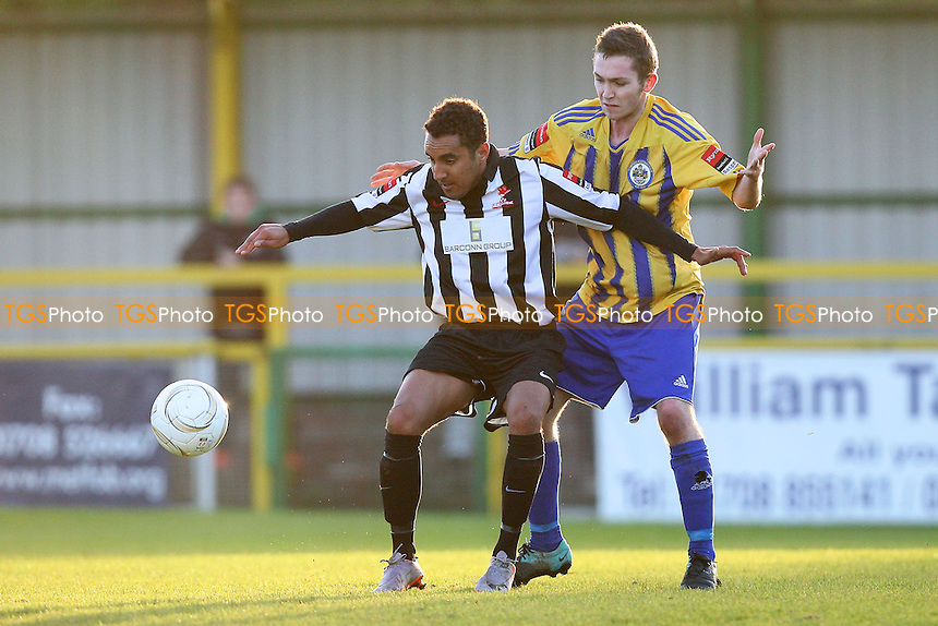 Nicky Howell of Dereham shields the ball from Joe Oates - Romford vs Dereham Town - Ryman League Division One North Football at Ship Lane, Thurrock FC - 02/11/13 - MANDATORY CREDIT: Gavin Ellis/TGSPHOTO - Self billing applies where appropriate - 0845 094 6026 - contact@tgsphoto.co.uk - NO UNPAID USE