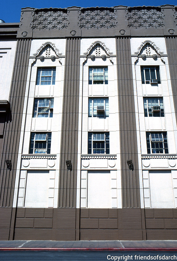 San Diego: SDG&E Sub-station--elevation. Built in 1929. 707 Broadway. Art Deco. Now Electra, a condominium high rise built within the old building. Adaptive reuse and exterior restoration. Photo '80.