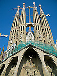 The La Sagrada Familia in Barcelona, Spain.  The cathedral designed by Gaudi has been under construction since 1882.