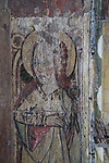Saint Appollonia, patron saint of dentists, medieval rood screen paintings, St Andrew church, Westhall, Suffolk, England, UK