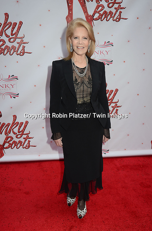 """Daryl Roth arrives at the """"Kinky Boots"""" Broadway Opening on April 4, 2013 at The Al Hirschfeld Theatre in New York City. Harvey Fierstein wrote is the Book Writer and Cnydi Lauper is the Composer."""