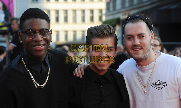 Loveable Rogues<br /> attended the &quot;One Direction: This is Us 3D&quot; world film premiere, Empire cinema, Leicester Square, London, England.<br /> August 20th, 2013<br /> 1D half length white black shirt jacket necklace headshot portrait glasses band group Eddie Brett, Sonny Jay Muharrem, Te Qhairo Eugene<br /> CAP/DS<br /> &copy;Dudley Smith/Capital Pictures
