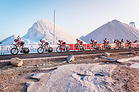 Team Lotto-Soudal at the stage start at the salt lake (factory) in Torrevieja <br /> <br /> Stage 1 (TTT): Salinas de Torrevieja to Torrevieja (13.4km)<br /> La Vuelta 2019<br /> <br /> ©kramon