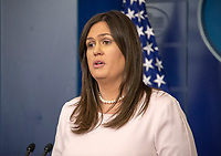 White House Press Secretary Sarah Huckabee Sanders conducts her daily briefing in the Brady Press Briefing Room of the White House in Washington, DC on Monday, July 2, 2018.<br /> CAP/MPI/RS<br /> &copy;RS/MPI/Capital Pictures