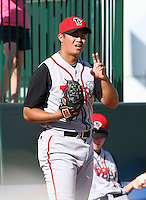 June 15th 2008:  Pitcher Chi-Hung Cheng of the Lansing Lugnuts, Class-A affiliate of the Toronto Blue Jays, during a game at Dow Diamond in Midland, MI.  Photo by:  Mike Janes/Four Seam Images