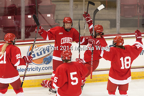 Morgan Richardson (Cornell - 21), Emily Fulton (Cornell - 17), Cassandra Poudrier (Cornell - 5), Jillian Saulnier (Cornell - 19), Jess Brown (Cornell - 18) - The Boston College Eagles defeated the visiting Cornell University Big Red 6-2 on Friday, October 24, 2014, at Kelley Rink in Conte Forum in Chestnut Hill, Massachusetts.