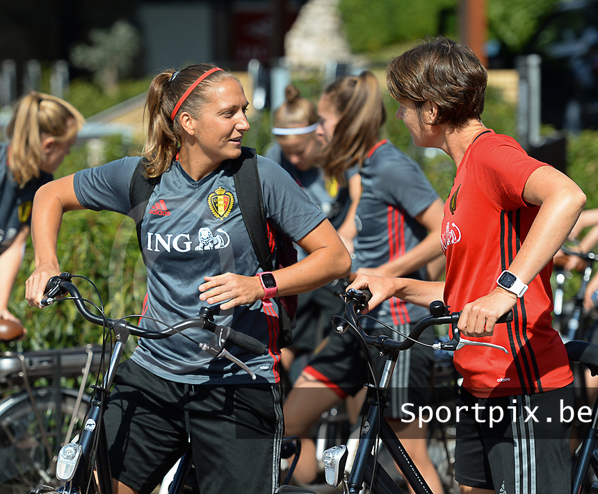 20170721 - RIJEN , NETHERLANDS : illustration shows Maud Coutereels (L) and Fabienne Van De Steene  pictured during the training on the pitch of VV Rijen , The Netherlands PHOTO SPORTPIX.BE | DIRK VUYLSTEKE