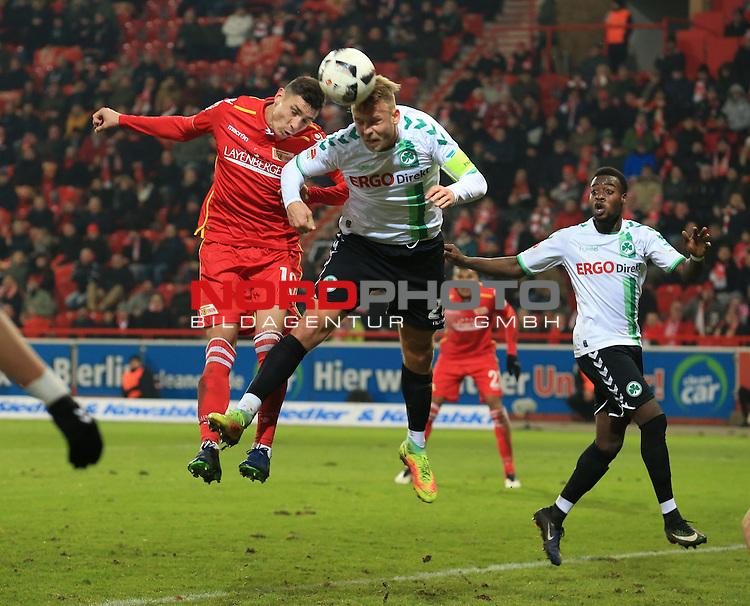 16.12.2016, Stadion an der Wuhlheide, Berlin, GER, 2.FBL, 1.FC UNION BERLIN  VS. SPVGG GREUTHER FUERTH, im Bild <br /> Damir Kreilach (1.FC Union Berlin #19), Marcel Franke (Greuther Fuerth)<br /> <br />      <br /> Foto &copy; nordphoto / Engler