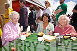 Enjoying fresh scallops on Saturday at the Valentia Island King Scallop Festival were l-r; Alice Kidd, Rowena Kidd & Rita Williams.
