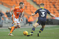 Blackpool's Harry Pritchard under pressure from Oxford United's Luke Garbutt<br /> <br /> Photographer Kevin Barnes/CameraSport<br /> <br /> The EFL Sky Bet League One - Blackpool v Oxford United - Saturday 23rd February 2019 - Bloomfield Road - Blackpool<br /> <br /> World Copyright © 2019 CameraSport. All rights reserved. 43 Linden Ave. Countesthorpe. Leicester. England. LE8 5PG - Tel: +44 (0) 116 277 4147 - admin@camerasport.com - www.camerasport.com