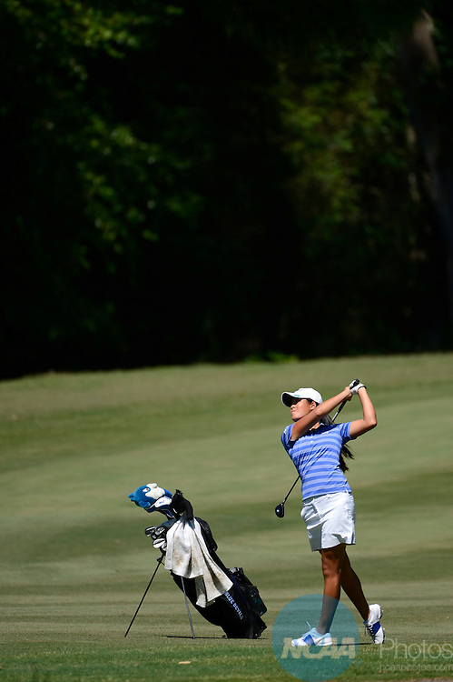 24 MAY 2013:  Celine Boutier of Duke University hits an approach shot during the Division I Women's Golf Championship takes place at the University of Georgia Golf Course in Athens, GA.  Boutier tied for fourth place with a -1 score.  Jamie Schwaberow/NCAA Photos