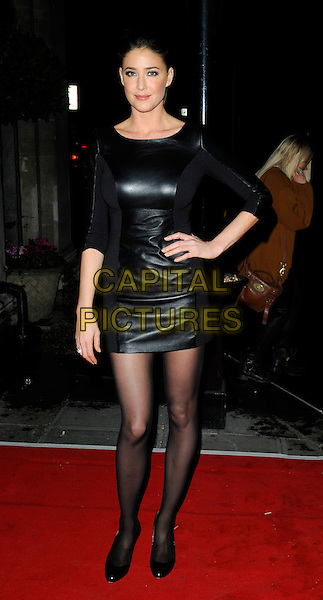 LISA SNOWDON .At the 20th Annual Drapers Awards, Grosvenor House, park Lane, .London, England, UK, .November 17th 2010..full length black dress tights shoes leather hand on hip .CAP/CAN.©Can Nguyen/Capital Pictures.