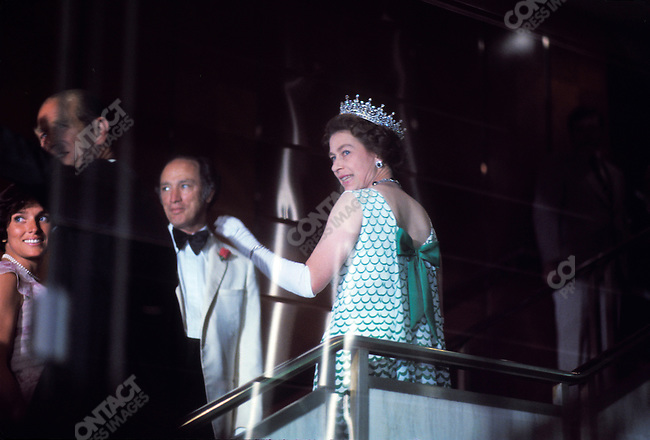 Queen Elizabeth II with Canadian Prime Minister Pierre Elliott Trudeau during a royal visit to Canada, July, 1976