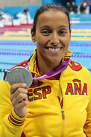 07.09.2012 London, England. Women's 50m Butterfly - S5 Final, T Perales (ESP) holds her silver medal in action during Day 9 of the London 2012 Paralympic Games atthe Aquatic Centre, Olympic Park.