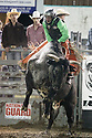 20 Aug 2014: Reid Barker  riding the bull Ugly Vinney scored a 81 during the fourth round of the Seminole Hard Rock Extreme Bulls competition at the Kitsap County Stampede in Bremerton, Washington.