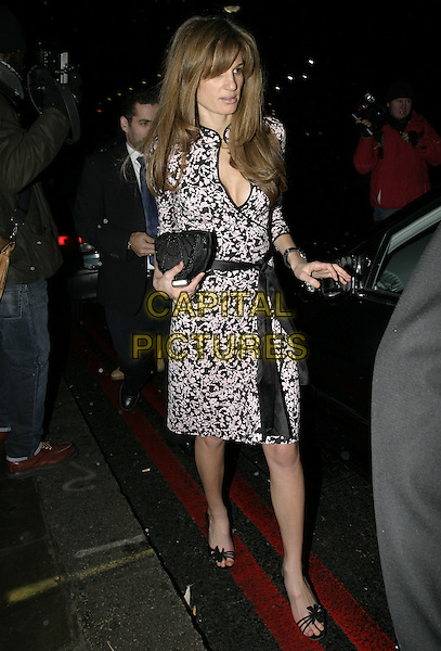 JEMIMA KHAN.At La Dolce Vita Ball in association with UNICEF,.Old Billingsgate, London, December 13th 2004..full length printed dress black sash belt madarin chinese style dress.Ref: AH.www.capitalpictures.com.sales@capitalpictures.com.©Capital Pictures.